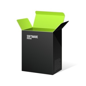 Software Package Box Opened Black Inside Green