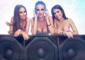 Three cute girls listening music