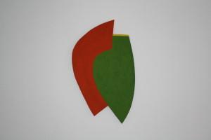 """WVZ 5-3-10, Acryl auf Sperrholz, """"umarmt"""", 2010, 37,5 x 35 x 2"""