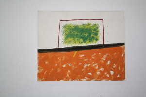 """WVZ 4-1-97, Acryl auf Holz, """"sie machten ihm eine Landschaft"""", 1997, 35 x 28,5"""