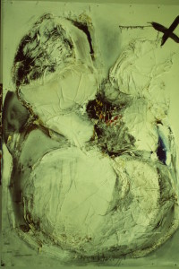 """WVZ 2-12-84, Malerei, Acryl , Papier auf Hartfaserplatte, """"Regression"""", 1984, 120 x 170"""