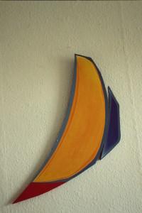 """WVZ 3-3-85, Acryl auf Spanplatte, """"Fischmond"""", 1985, 25 x 67"""