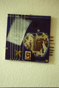 "WVZ 8-3-85, Acryl auf Holz, Nylonschnur, Nägel, ""Bahnhof Zoo - Cafe Viereck"", 1985, 32 x 30"