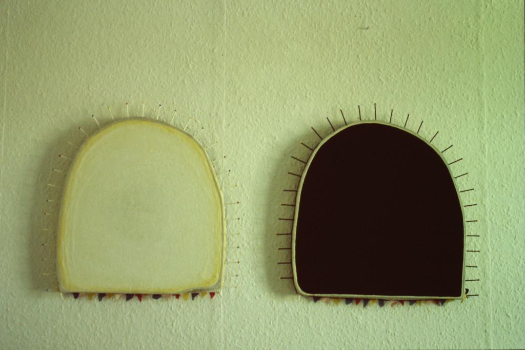 "WVZ 3-6-85, Acryl auf Spanplatte, Nägel, ""Sonnenaufgang, -untergang"", 1985, 90 x 75"