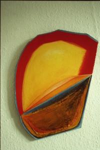 """WVZ 10-3-85, Acryl auf Spanplatte, Papier, """"Salomes Gedanke"""", 1985, 43 x 48"""