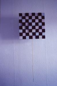 """WVZ 3-9-85, Acryl, Spanplattenteile, Schnur, """"Sonnenblume"""", 1985, 42 x 42"""