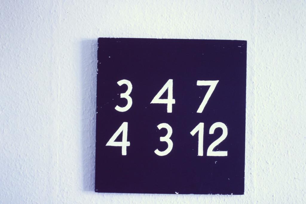 """WVZ 4-9-85, Acryl auf Holz, """"Zur Berechnung des Mondes"""", 1985, 43 x 41"""
