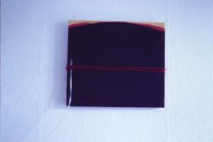 """WVZ 2-10-85, Acryl auf Holz, Schnur, PVC-Schlauch, """"Die Erweiterung des Horizonts"""", 1985, 42 x 37,5"""