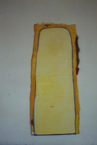 """WVZ 4-2-86, Acryl auf Wellpappe, """"Indianertafel"""", 1986, 45 x 98"""