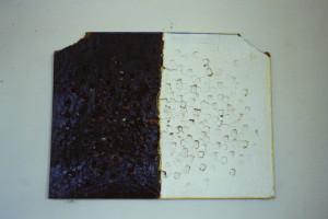 """WVZ 2-3-86, Acryl auf Dämmplatte, """"(März-Epitaph) Ich"""", 1986, 68 x 52"""