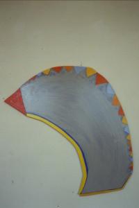 """WVZ 3-5-86, Acryl auf Spanplatte, """"Clown"""", 1986, 42 x 85"""