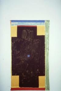 """WVZ 2-12-92, Acryl auf Wellpappe, """"Kreuz"""", 1993, 20 x 36"""