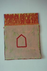 "WVZ 13-3-93, Acryl auf Wellpappe, ""abgebrannt"", 1993, 60 x 77"