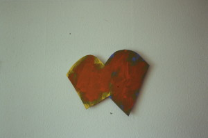 "WVZ 19-3-93, Acryl auf Wellpappe, ""broken heart"", 1993, 48 x 39"