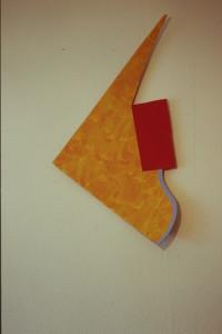 """WVZ 43-3-93, Acryl auf Wellpappe, """"seltsamer Fisch"""", 1993, 46 x 92"""
