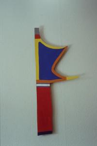 """WVZ 27-4-93, Acryl auf Wellpappe, """"Fahne"""", 1993, 36 x 91"""
