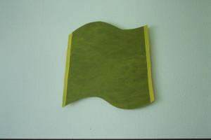"""WVZ 21-5-93, Acryl auf Wellpappe, """"grüne Welle"""", 1993, 49 x 47,5"""