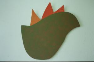 """WVZ 29-5-93, Acryl auf Wellpappe, """"Hahn"""", 1993, 75 x75"""