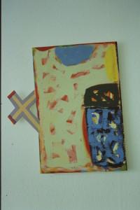 """WVZ 13-6-93, Acryl auf Wellpappe, """"Baum mit X"""", 1993, 55,5 x 46,5"""