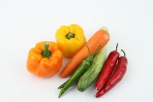 Gemüse gelb, rot, grün