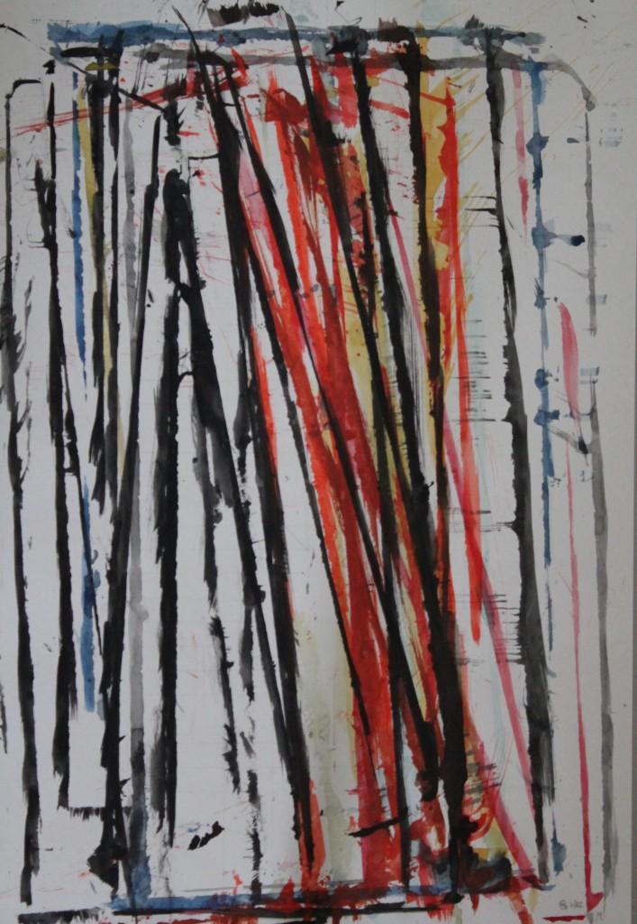 abstraktes Bild, Gouache auf Papier, 1982, 42 x 59