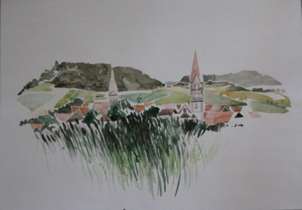 fränkische Landschaft, Aquarell, 80-er Jahre, 57 x 41