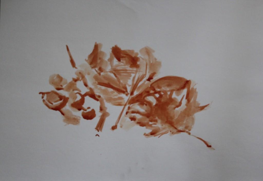 Blätter, Sepia oder Bister (?), 80-er Jahre, 59 x 42