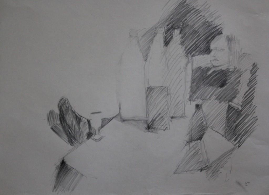 Szene mit Flaschen, Bleistift auf Papier, 80-er Jahre, 56 x 42
