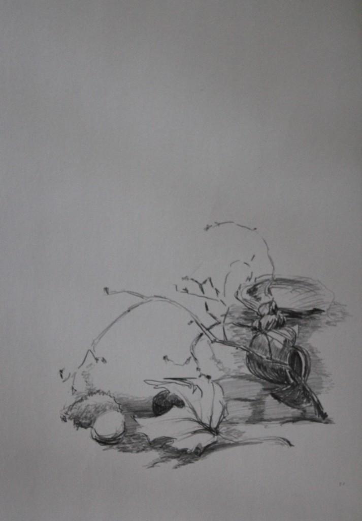 Stillleben, Bleistift auf Papier, 80-er Jahre, 42 x 59