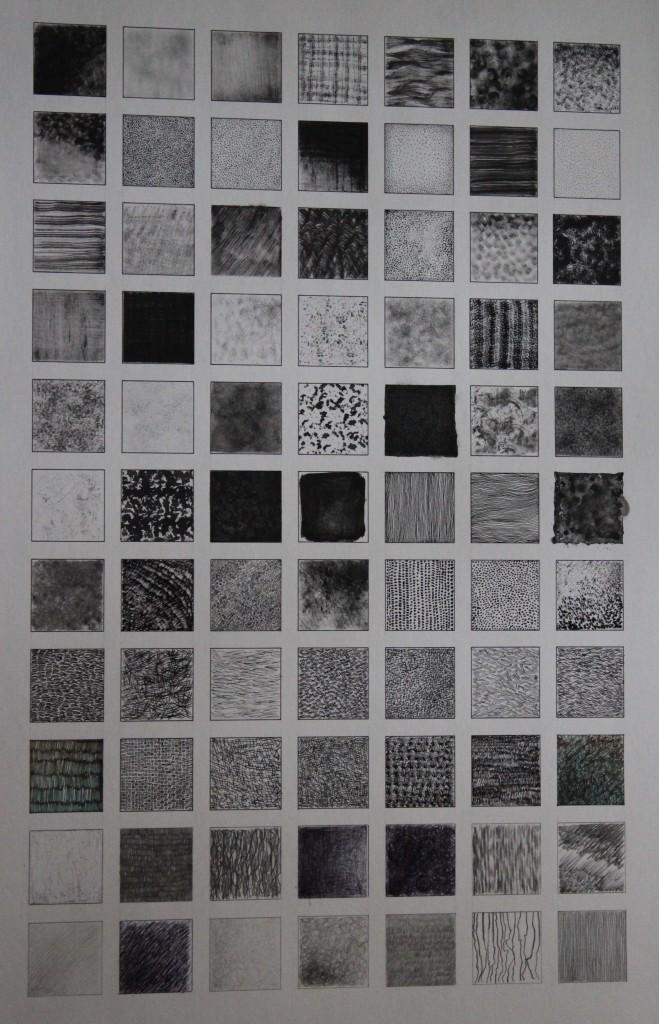 Zeichentechniken, verschiedene Techniken, Schwarz auf Weiß, 80-er Jahre, 42 x 59,5