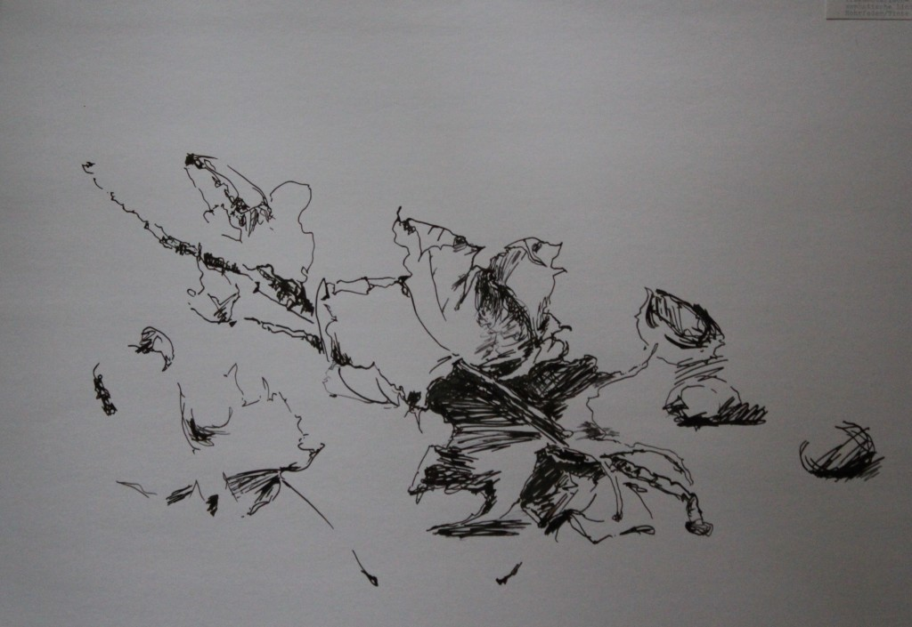Stillleben, Linie, fragmentarisch-empathische Linie, Rohrfeder/Tinte, 80-er Jahre, 58,5 x 42