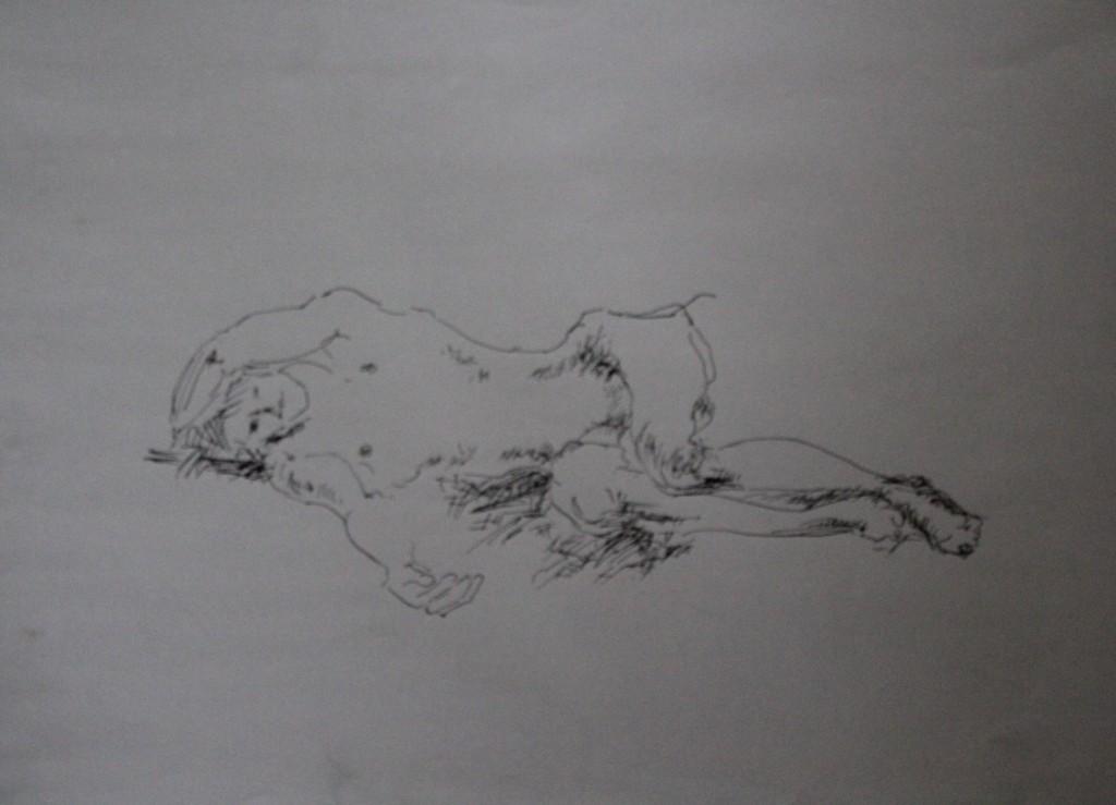 Akt, Tinte auf Papier, 80-er Jahre, 59,5 x 42