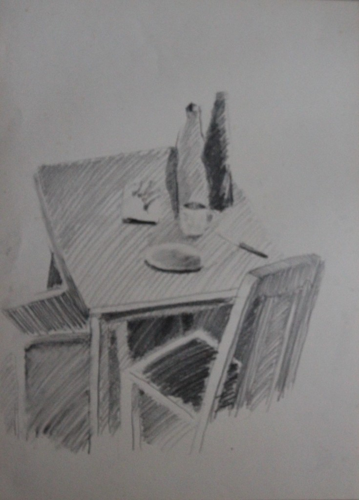 Stillleben mit Tisch, Bleistift auf Papier, 80-er Jahre, 33 x 45