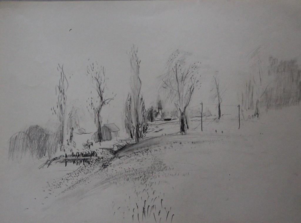 Landschaft, Bleistift auf Papier, 80-er Jahre, 45 x 33