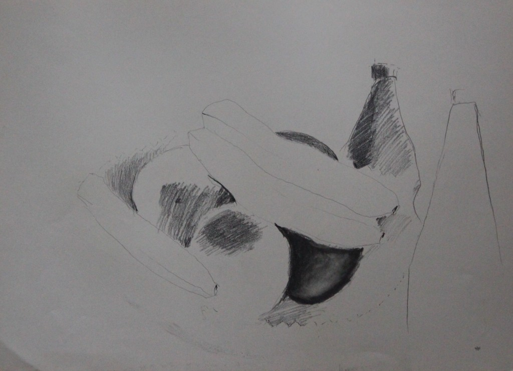 Stillleben, Tusche/Bleistift auf Papier, 80-er Jahre, 45 x 33