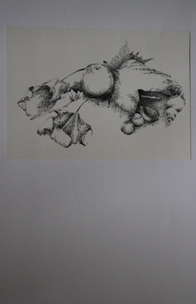 Stillleben, Fläche - Feder/Tusche, 80-er Jahre, 36,5 x 25,5