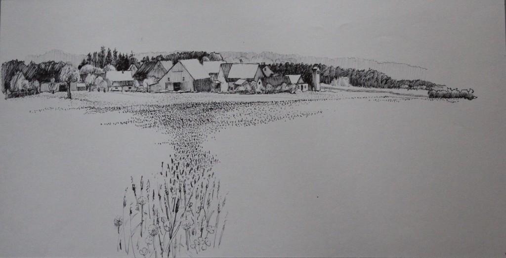 fränkische Landschaft, Tusche auf Papier, 80-er Jahre, 52 x 27