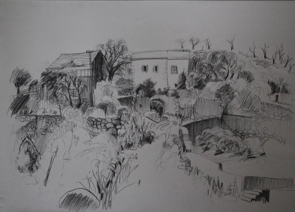 Landschaft Griechenland oder Jugoslawien (?), Bleistift auf Papier, 1984, 63 x 43,5
