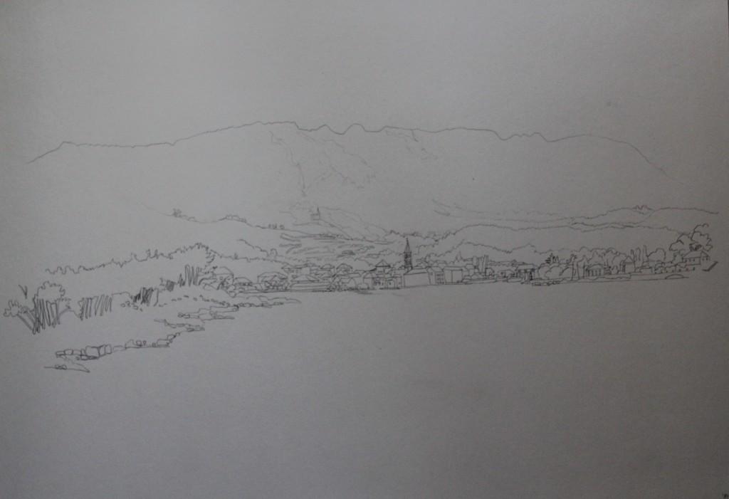 Landschaft Jugoslawien, Bleistift auf Papier, 1984, 59 x 43