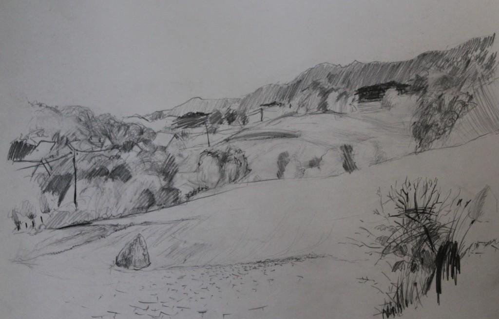 Landschaft, Bleistift auf Papier, 80-er Jahre, 62,5 x 43