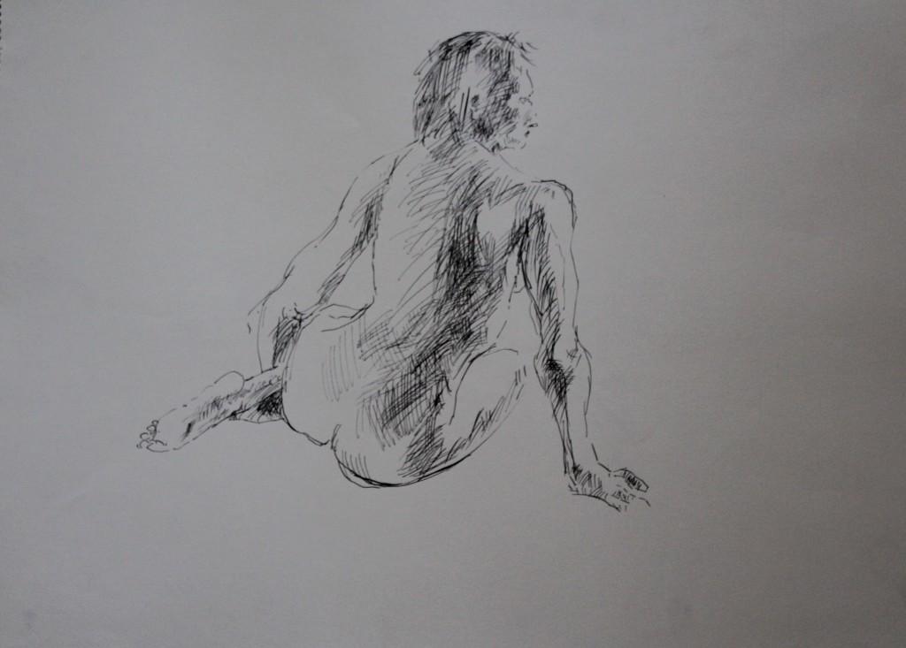 Akt von hinten, Tusche auf Papier, 80-er Jahre, 55,5 x 42
