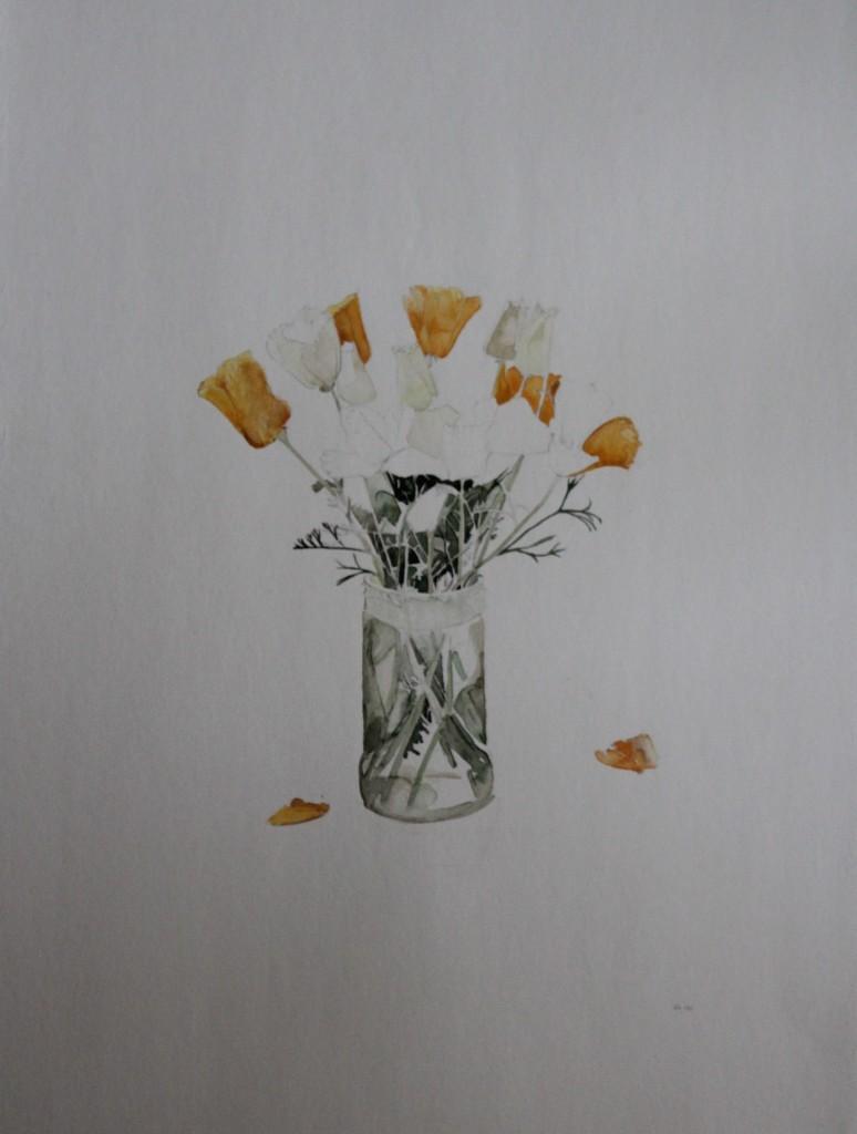 Stillleben Blumen, Aquarell/Bleistift, 1981, 52 x 39,5