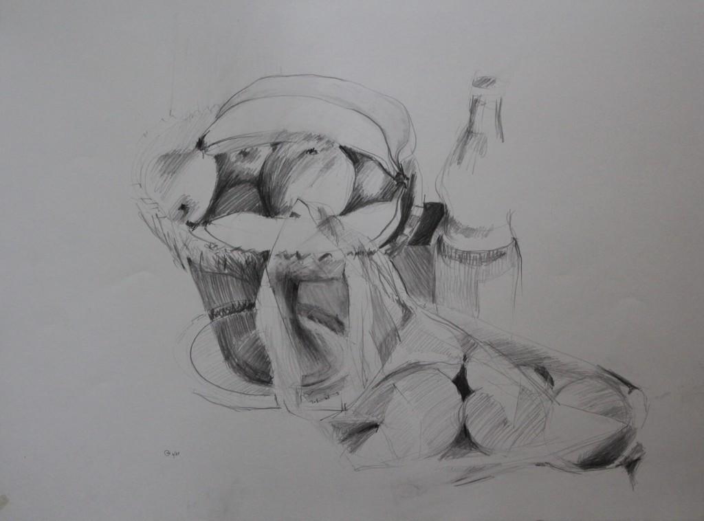 Stillleben, Bleistift auf Papier, 1981, 56 x 42