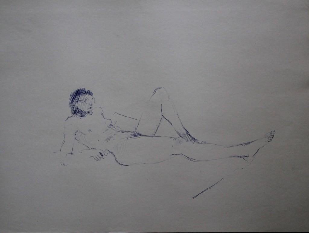 Akt, Kugelschreiber auf Papier, 80-er Jahre, 56 x 42