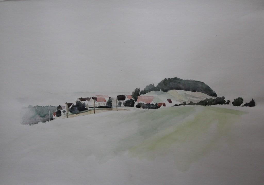 fränkische Landschaft, Aquarell auf Papier, 1982, 59 x 42