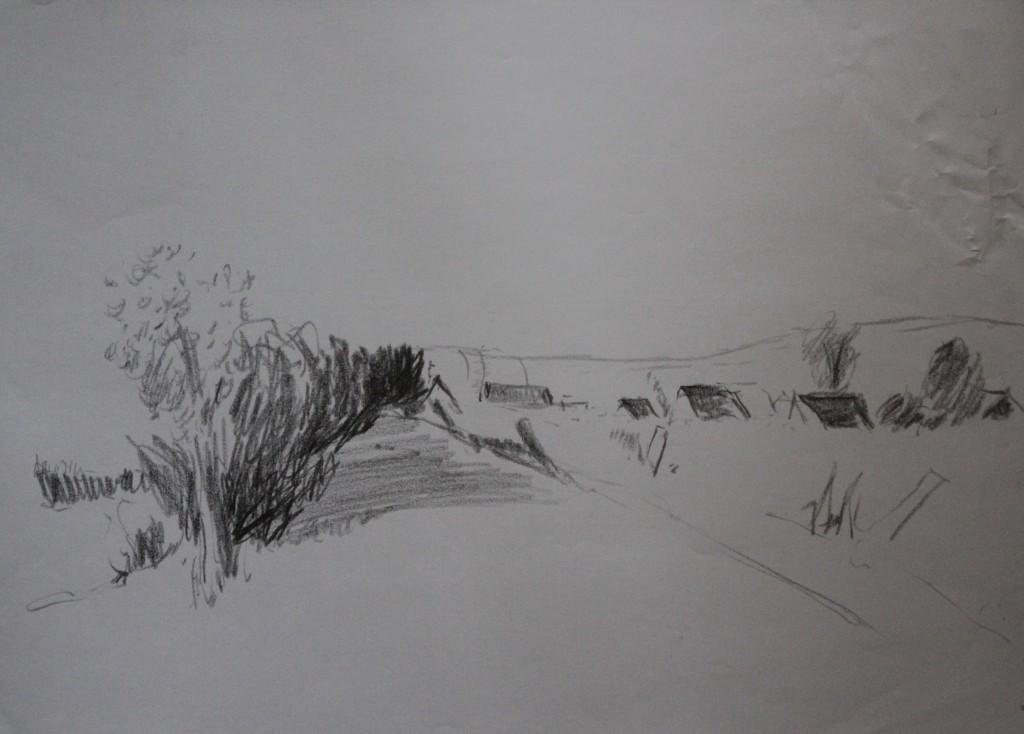 Landschaft, Bleistift auf Papier, 1982, 59 x 42