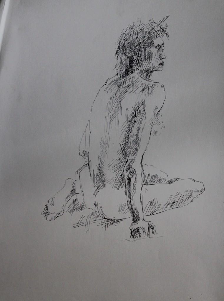 Akt von hinten, Tusche auf Papier, 80-er Jahre, 42 x 59