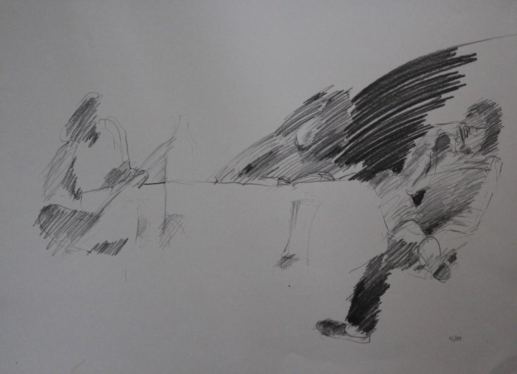 Szene, Bleistift auf Papier, 1981, 59 x 42