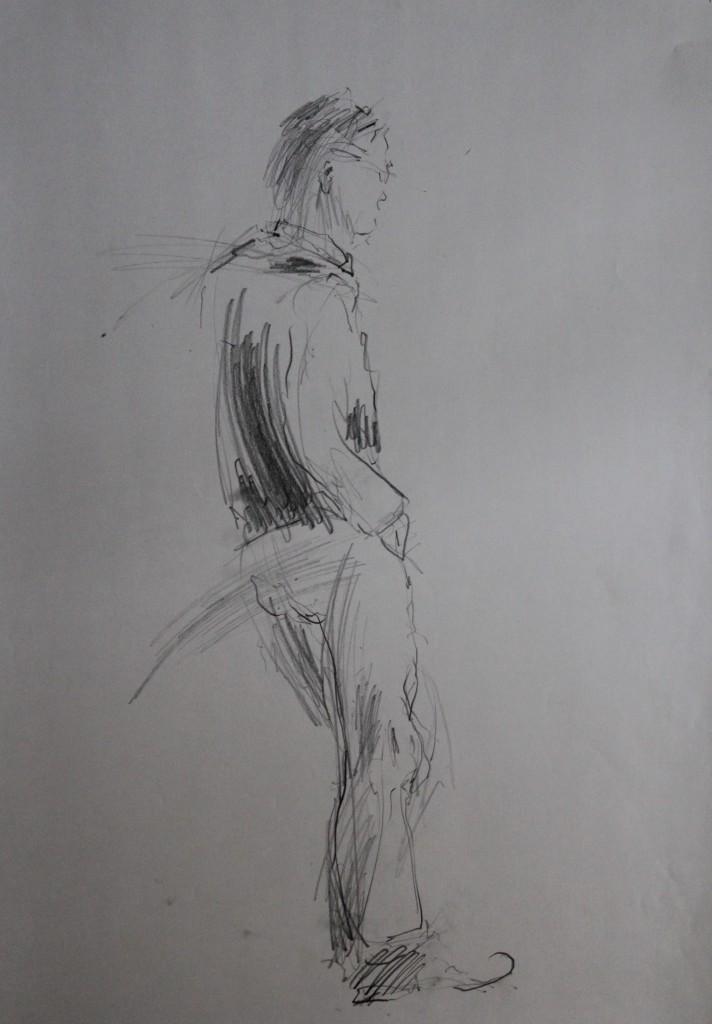 Figur, Bleistift auf Papier, 80-er Jahre, 42 x59