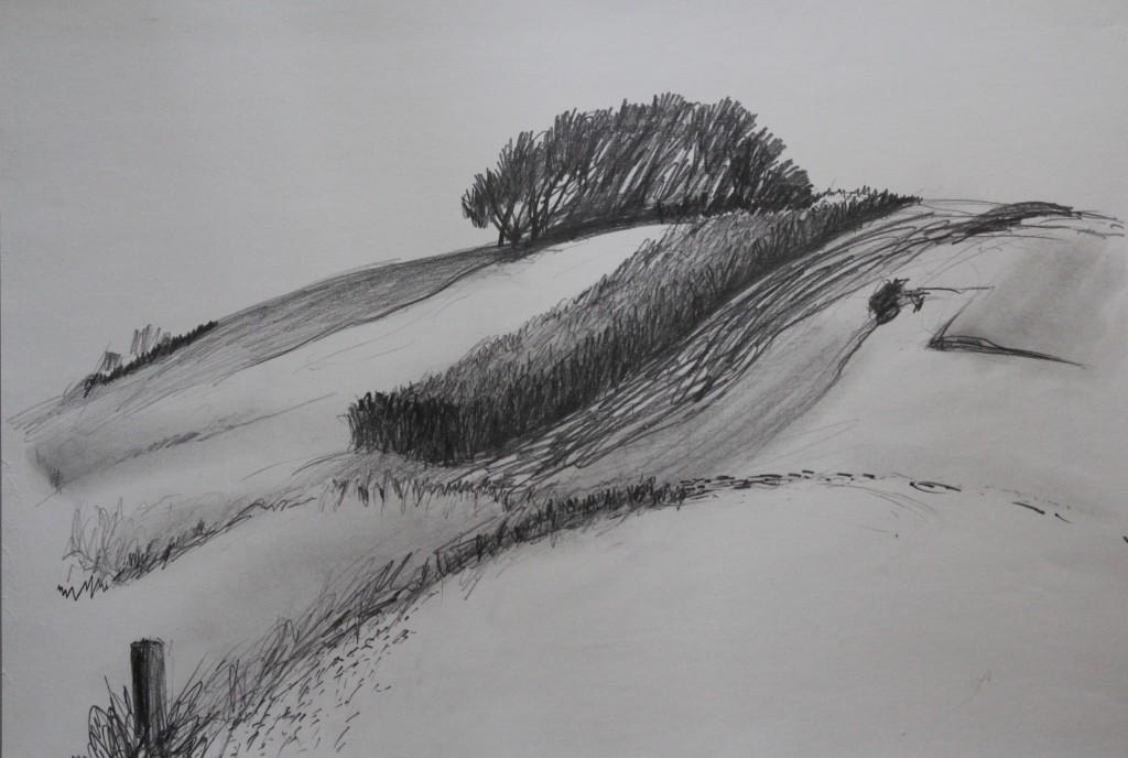 Landschaft, Bleistift auf Papier, 80-er Jahre, 59 x 42
